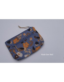 Devon Pouch - Blue and Taupe