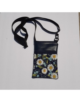 Cell Phone Crossbody - Navy and Daisies