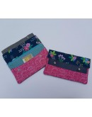 Minimalist Wallets - Pink and navy floral
