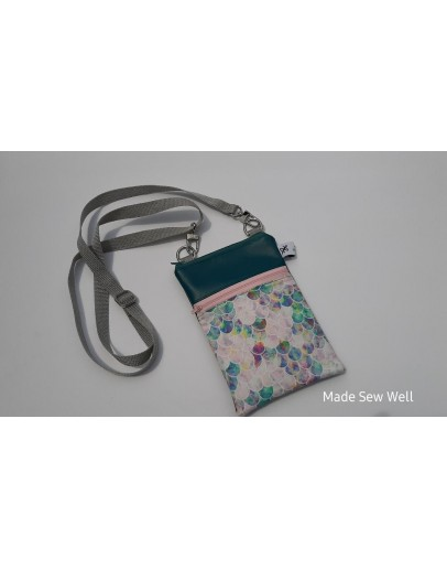 Cell Phone Crossbody - Teal and scallops